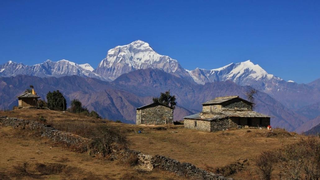 Homestead In The Himalayas, Mount Dhaulagiri
