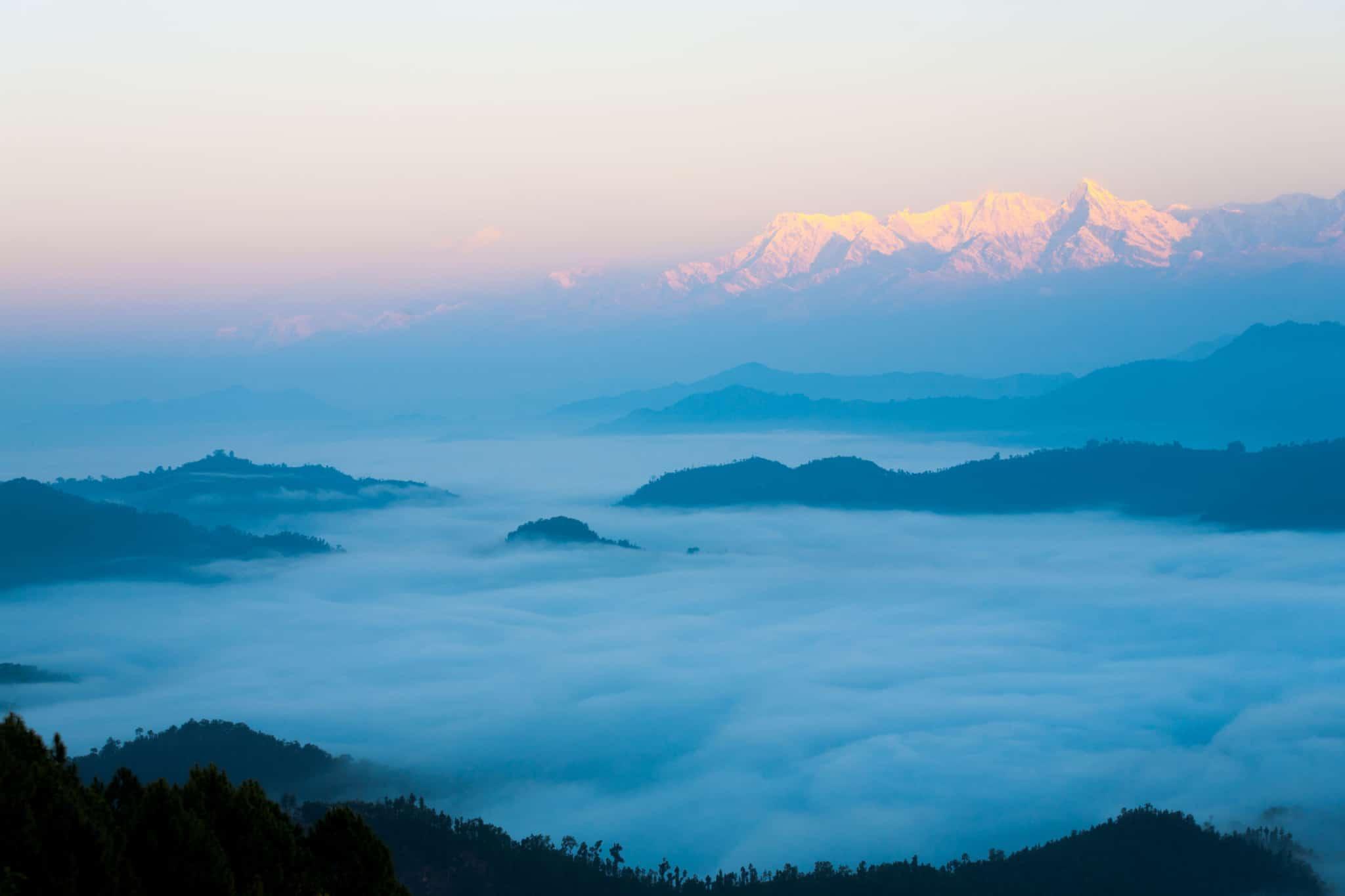 Himalayan Mountain Range Over Sea Of Clouds Dawn