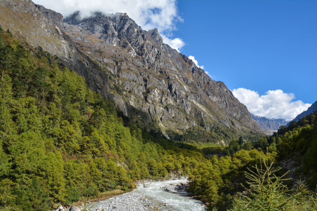 Beautiful View Of The Himalayan Valley On The Way From Ghunsa Vi